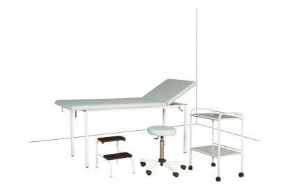 Lot de consultation pour le cabinet médical : Divan d'examen + Tabouret réglable + Marchepied 2 marches + Guéridon 2 plateaux